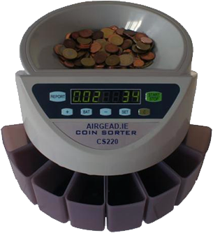 Coin counter ireland coin sorters and note counters for Transparent piggy bank money box